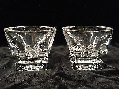 Pair of Heavy Clear Glass Candlestick Holders Square Base