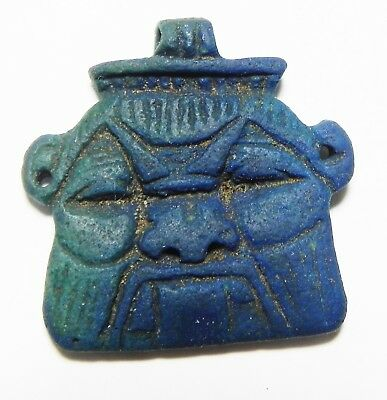 ZURQIEH -as3295- ANCIENT EGYPT , EGYPTIAN BLUE. BES BUST PENDANT. CHOICE QUALITY