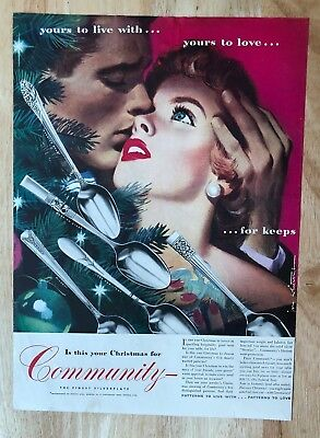 Original Print Ad 1946 Community Silverplate This Is For Keeps Jon Whitcomb Merchandise & Memorabilia Advertising