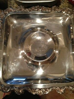 """Vintage Poole """"Old English"""" Chased  Footed Waiter Serving  Tray - Large Square"""