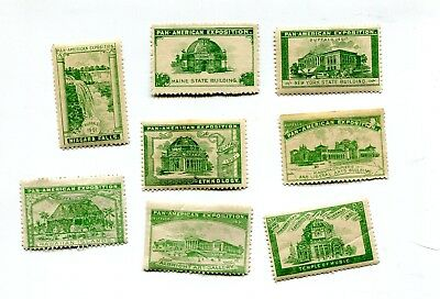 Vintage Poster Stamp Label lot of 8 PAN AMERICAN WORLDS FAIR 1901 Buffalo NY gr1