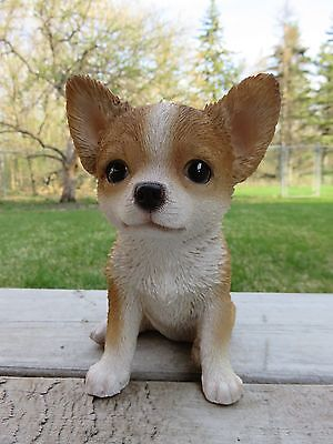 Chihuahua Puppy Dog Figurine 6 in. Light Brown Resin Ornament Statue Chiwawa New