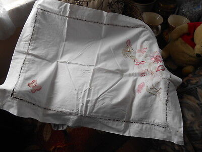 """Vintage Monsoon Home Embroidered White Cotton  Pillow Case With Added 2"""" Border"""