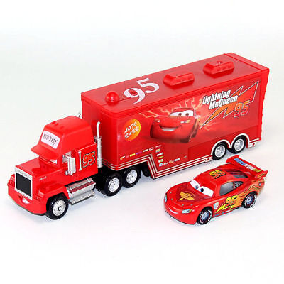 Disney Pixar Car NO.95 Mack Racer's Truck & 1:55 Lightning McQueen Loose Toy New