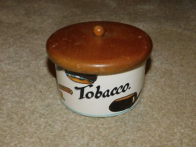 Toni Raymond Pottery Tobacco Jar With Wooden Lid & Rubber Seal