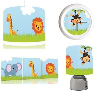 JUNGLE SAFARI FRIENDS Baby Bundle Light shade, Touch Lamp, Clock, Canvas FREEP&P