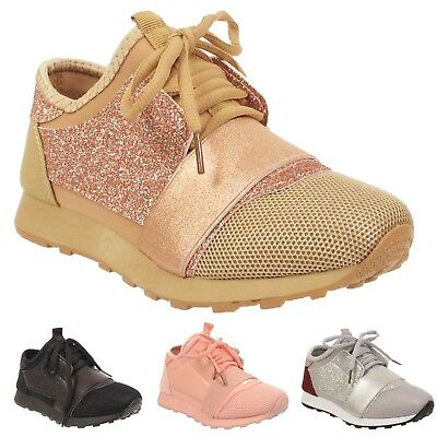 Kids Girls Childrens Flat Bali Running Trainers Glittery Flat Sporty Shoes Size