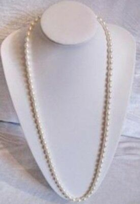 Natural 7-8MM White Akoya Cultured pearl  Necklace AAA 32inch Long