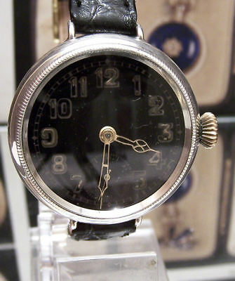 Rare Antique Vintage 1915 Black Dial Solid Silver Officers Ww1 Military Watch