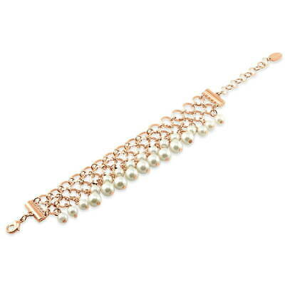 BERRICLE Rose Gold-Tone Simulated Pearl Fashion Link Bracelet