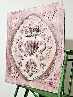 Shabby Painted Hand Carved Wood Panel Antique French Gothic Bowl Fruit Carving