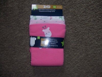 Brand New L & D short sleeve baby bodysuits new Pink 6 months