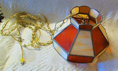 Vintage Hanging Lamp With Stained Glass Look With Plastic