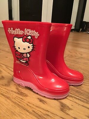 Cute Girls Hello Kitty Red Wellingtons UK infant 10