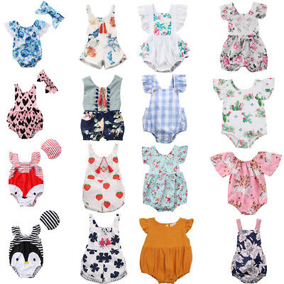 Kids Newborn Baby Girls Summer Clothes Romper Bodysuit Playsuit Clothes Outfits