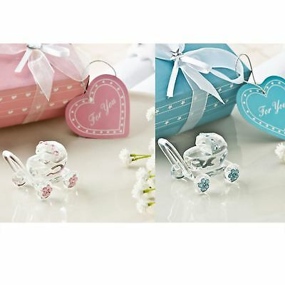 6 Boy Girl Crystal Baby Carriage Baptism Christening Confirmation Showers Gift