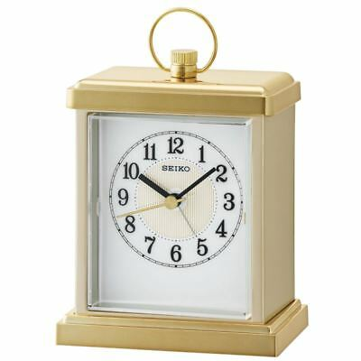 Seiko QHE148G Small Carriage Mantel Alarm Clock With Gold Case New