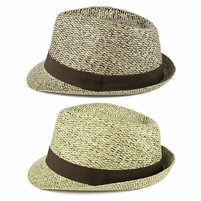 Mens Ladies Fully Lined Sun Woven Straw Style Summer Unisex Trilby Hats - Beige