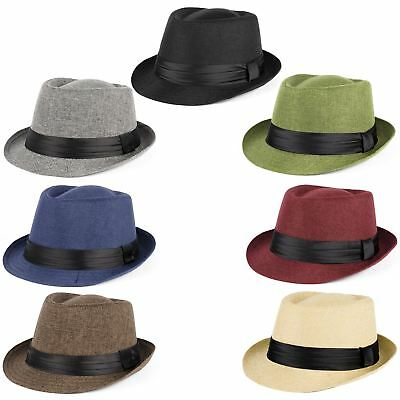 Mens Ladies 100% Polyester Woven Straw Style Summer Unisex Trilby Hats