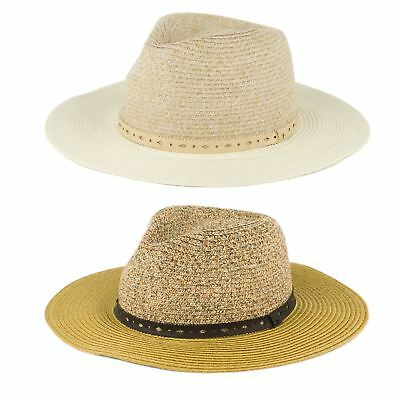 Mens Ladies Quality Straw Style Leatherette Patterned Band Unisex Fedora Hat
