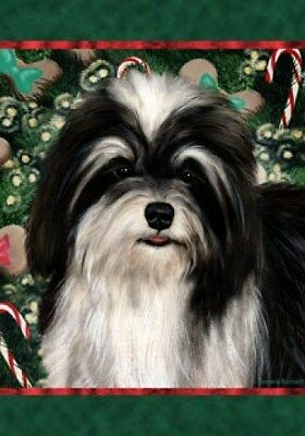 Garden Indoor/Outdoor Holiday Flag - Black & White Havanese 140921