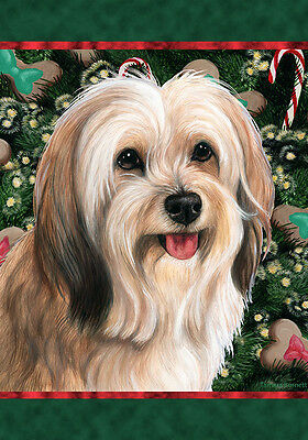 Garden Indoor/Outdoor Holiday Flag - Fawn & White Tibetan Terrier 144791