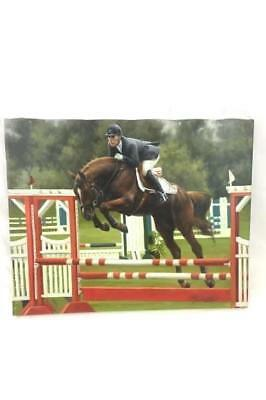 Hand Painted Oil Painting Jumping Show Horse ~ Rider Signed ~