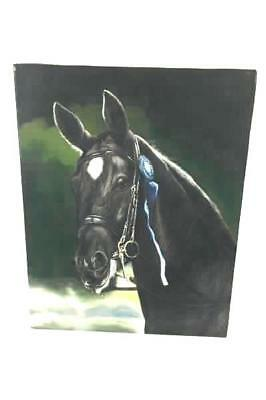 Original Oil Painting of Black Show Horse with Blue Ribbon by Rose M. Sullivan
