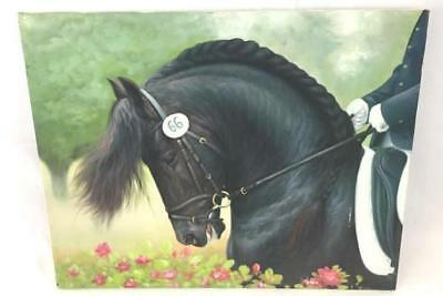 Original Painting Black Dressage Show Horse And Rider by Rose M. Sullivan