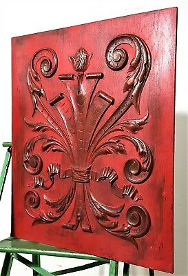 Shabby Painted Hand Carved Wood Panel Antique French Bow Scroll Leave Carving
