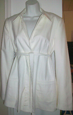 White Linen Look NEW A Pea in the Pod Maternity Jacket Coat Blazer L $225 NWT