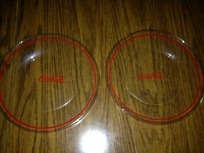 Coca Cola Glass  Dinner Plates - Set Of  Two