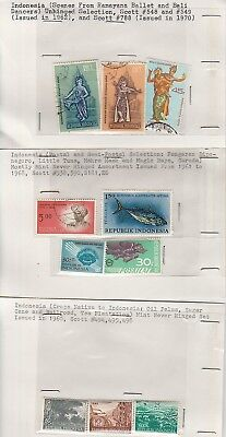 Indonesia stamps on old approval cards (Lot 2)