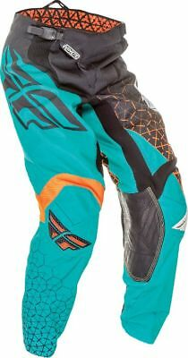 YOUTH motocross pants FLY KINETIC TRIFECTA size 24, blk/teal/org 369-43824