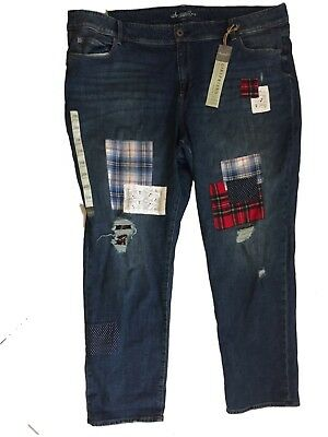 American Rag 24W Plus Size Patched & Distressed Girlfriend Jeans New