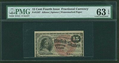 1869-75  15 Cents Fractional Currency Fr-1267 Certified By Pmg Choice Unc. 63Epq