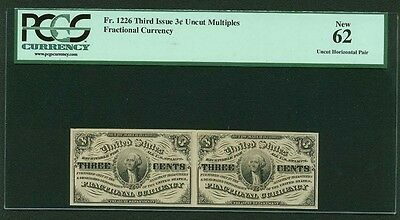 1864-69  3 Cents Fractional Currency Fr-1226 Uncirculated Certified Pcgs New-62""