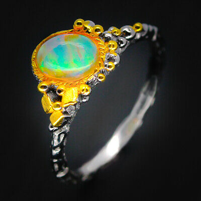 Handmade Ring! Natural 8x6 Opal 925 Sterling Silver Ring / RVS09