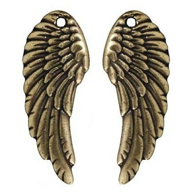 Antiqued 22K Gold Plated Wing Charms 28mm (2)