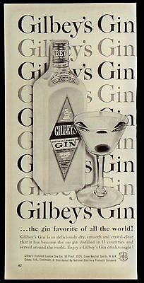 Vintage 1958 Gilbeys Gin Magazine Ad Favorite of All The World