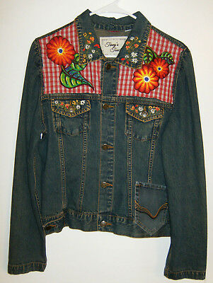 Stretch Denim Fitted Jacket~ BOHO  Butterfly Collage~ Size  Large OOAK Art