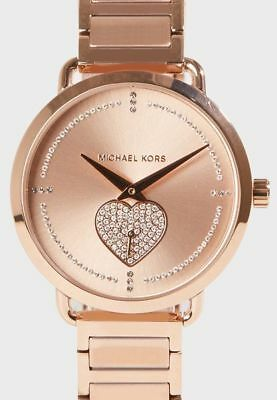Michael Kors Las Portia Rose Gold Tone Bracelet Heart Watch Mk3827