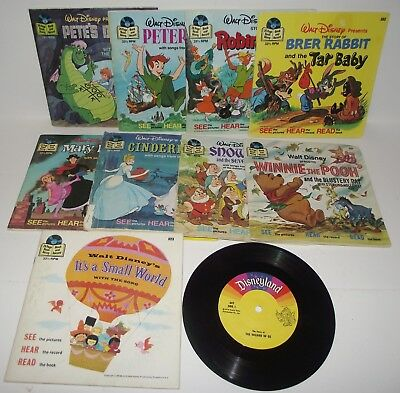 WALT DISNEY Set of 10 Vintage See Hear and Read Books and Records 33 1/3 RPM