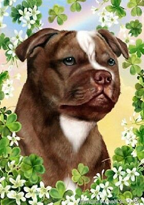 Large Indoor/Outdoor Clover Flag - Choc. Staffordshire Bull Terrier 31244