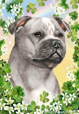 Large Indoor/Outdoor Clover Flag - Gr/Wh Staffordshire Bull Terrier 31248