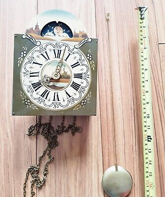 Clock Movement Dial Hermle Hand Painted Friese Clock Pendulum & Chains 1968