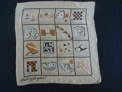 Vintage 1930's Novelty Handkerchief Hanky - Printed Silk - What's Your Game?