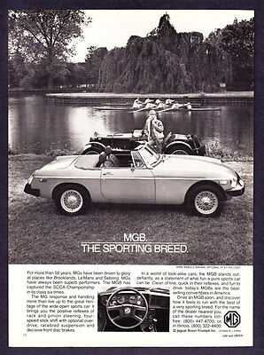 "1980 Rowing Team on Lake photo MG MGB Convertible ""Sporting Breed"" promo ad"