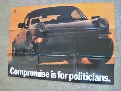 """1989 Porsche Advertising Poster """"Compromise is for Politicians"""" 28 x 39  Famous!"""