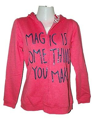 NEW GIRLS EX STORE PINK HOODIE HOODY SWEATSHIRT 11-14 years MAGIC IS SOMETHING